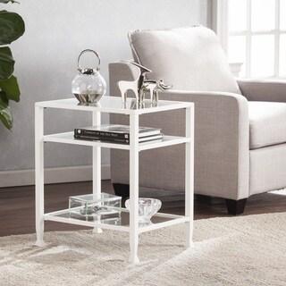 Harper Blvd Jensen Metal/Glass End Table   White