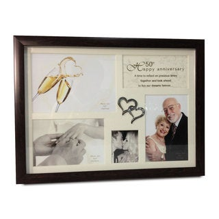 Elegance 50th Anniversary Collage Photo Frame with Double Heart Icon