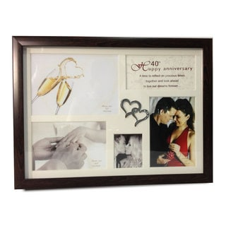 Elegance 40th Anniversary Collage Photo Frame with Double Heart Icon