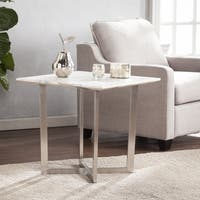 Harper Blvd Walham Faux Marble End Table - Soft Ivory w/ Gray