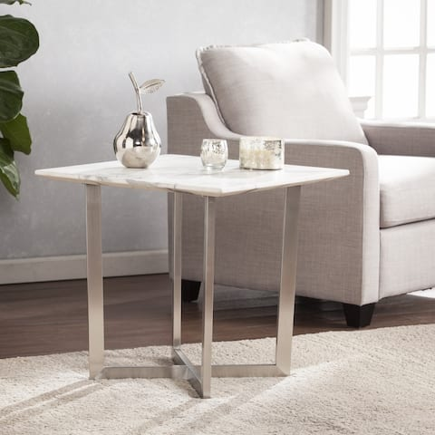 Strick & Bolton Kaceli Faux Marble End Table
