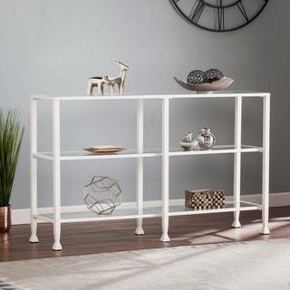 Harper Blvd Jensen Metal/Glass 3-Tier Console Table/Media Stand - White