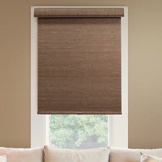 Chicology Deluxe Natural Woven Fabric Privacy Felton Truffle Free-stop Cordless Roller Shade