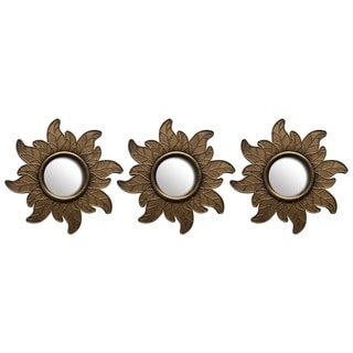 Bronze 10-inch Decorative Floral Wall Mirrors (Set of 3)