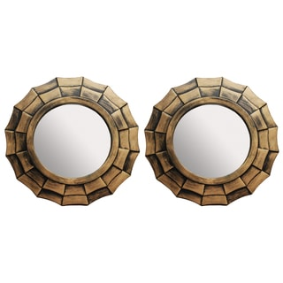 Bronze 10-inch Decorative Distressed Wall Mirrors (Set of 2)