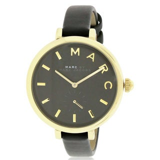 Marc by Marc Jacobs Sally Women's Black Leather and Goldtone Stainless Steel Watch