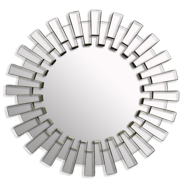 Sunburst Wall Mirror contemporary round wall mirror modern decor silver art large