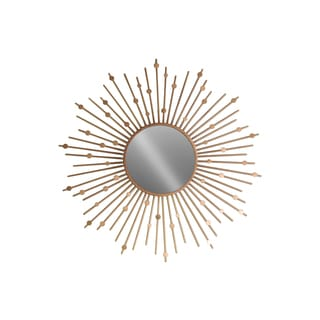 Urban Trends Collection Metallic Finish Gold Metal Sunburst and Circles Design Round Wall Mirror