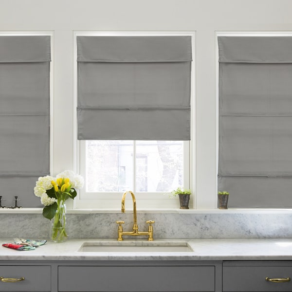 overstock roman shades ashton chicology grey light filtering magnetic roman shade shop free