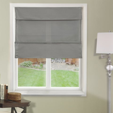 Chicology Grey Light Filtering Magnetic Roman Shade