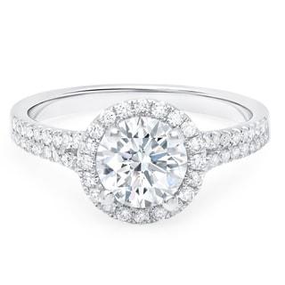 LeZari & Co. 18k White Gold 1 2/5ct TDW Diamond Split Shank Halo Engagement Ring (F-G, SI1-SI2)