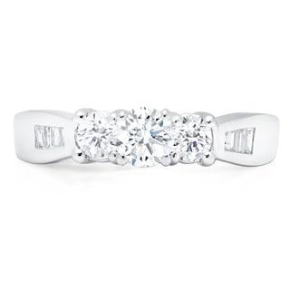 LeZari & Co. 14k White Gold 1ct TDW White Diamond 3-Stone Engagement Ring (H-I, I1-I2)