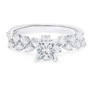 LeZari & Co. 18k White Gold 1 1/2ct TDW Diamond Baguette Engagement Ring