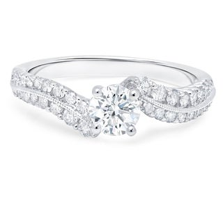 LeZari & Co. 18k White Gold 1ct TDW White Diamonds Waved Engagement Ring (G-H, I1-I2)