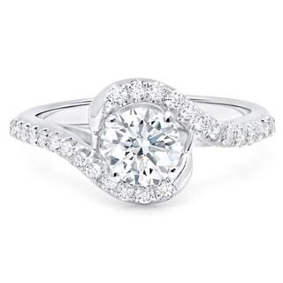LeZari & Co. 14k White Gold 1 1/5ct TDW Brilliant Diamond Twist Halo Engagement Ring (G-H, I1-I2)