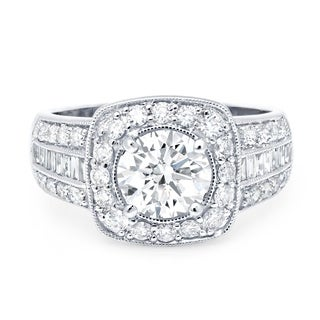 LeZari & Co. 18k White Gold 2 2/5 ct TDW White Diamond European Cut Engagement Ring (G-H, SI1-SI2)
