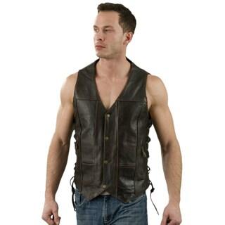 Men's Retro Brown Leather 10-pocket Side Lace Vest