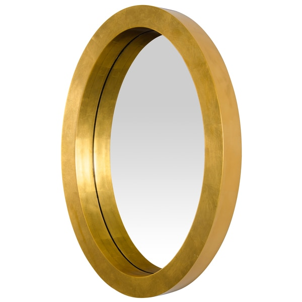 8d1435832ae0 Shop Varaluz Casa Ringleader Thick Frame Oval Gold Leaf Mirror - N A ...
