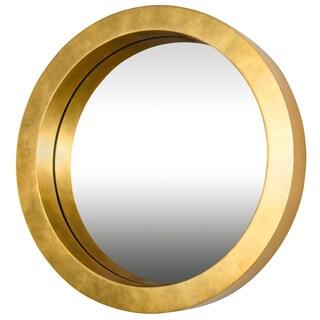Varaluz Casa Ringleader Thick Frame Round Gold Leaf Mirror