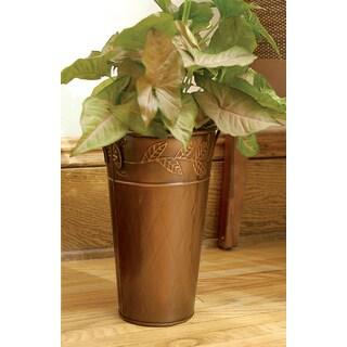 12-inch Copper Leaf Motif French Vase