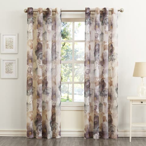 918 Andorra Watercolor Floral Print On Textured Sheer Curtain Panel