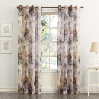 No. 918 Andorra Watercolor Floral Textured Sheer Single Curtain Panel