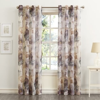 No. 918 Andorra Watercolor Floral Print On Textured Sheer Curtain Panel