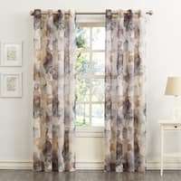 No. 918 Andorra Watercolor Floral Print On Textured Sheer Curtain Panel