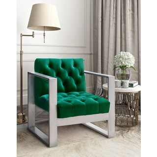 Oliver Contemporary Glam Green Velvet Chair