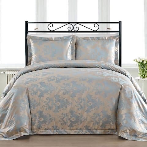 Comfy Bedding Blue Cotton Blend 450 Thread Count 3-piece Duvet Cover Set