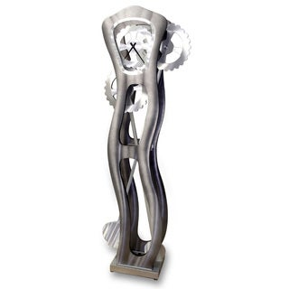 Nova Lighting Time Warp Silver-tone Aluminum and Wood Moving Floor Clock