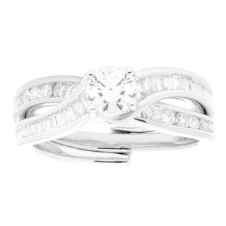 Sofia 14k Gold 1ct TDW White Diamond Insert Bridal Set (H-I, I1-I2)