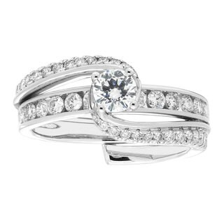 Sofia 14k Gold 1ct TDW White Diamond Twisted Bridal Insert Set