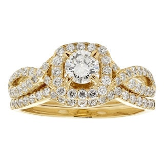 14k Yellow Gold 1ct TDW White Diamond Bridal Set (H-I, I1-I2)