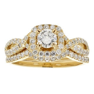 14k Yellow Gold 1ct TDW White Diamond Bridal Set