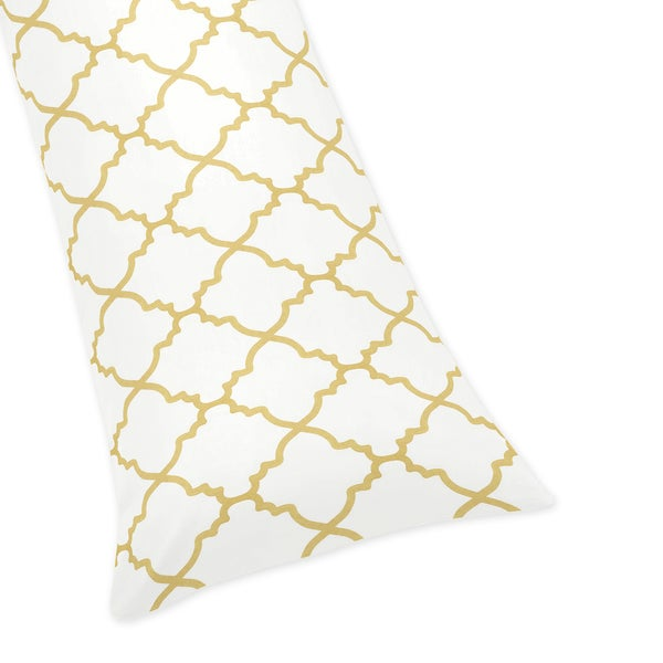 Sweet Jojo Designs White and Gold Trellis Collection Microfiber Body Pillow Case