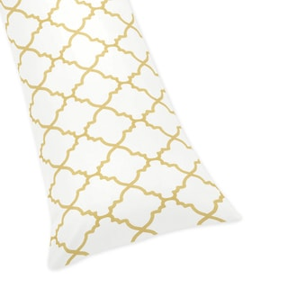 Sweet Jojo Designs White and Gold Trellis Collection Microfiber Body Pillow Case