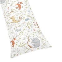 Sweet Jojo Designs Woodland Toile Collection Multicolor Cotton Body Pillow Case