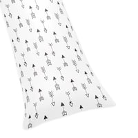 Sweet Jojo Designs Black and White Fox Collection Microfiber Arrow Print Body Pillow Case