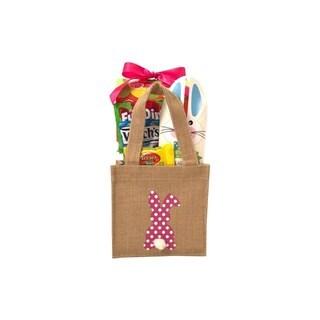 Pink Easter Bunny Burlap Basket