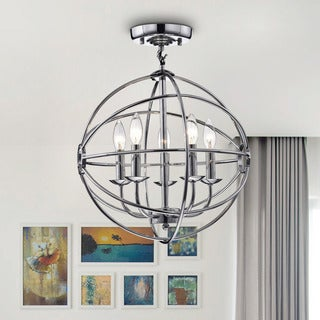 Benita Chrome Finish Glam Orb 5-light Flush Mount Chandelier