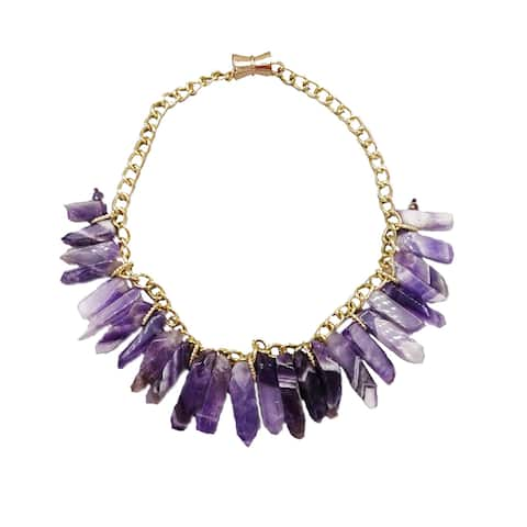 Natural Agate Form Women's Genuine Drusy Stone Collar