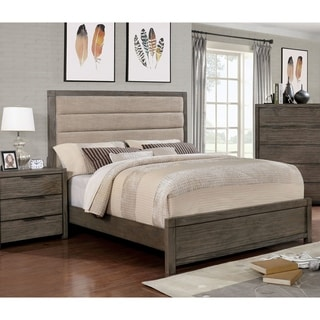 Furniture of America Dresdelle II Transitional Tufted Leatherette Grey Queen-size Bed