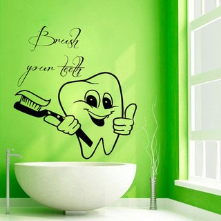 Brush Teeth Vinyl Decal Sticker Bath Interior Design Home Decor - Vinyl cup brush