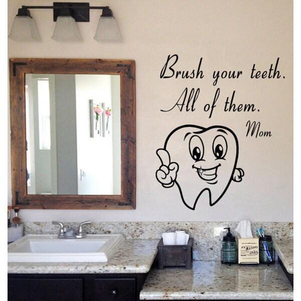 Shop Brush Your Teeth Mom Wall Quotes Vinyl Sticker Bathroom Home