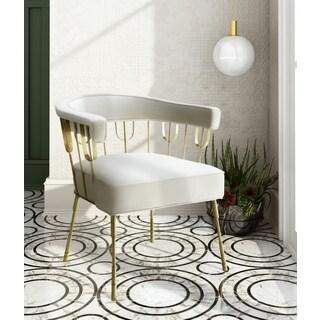 Copley Contemporary Glam Cream Velvet Accent Chair