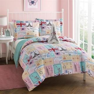 Link to Bonjour Pink and Blue Patchwork 4-Piece Reversible Comforter Set Similar Items in Kids Comforter Sets
