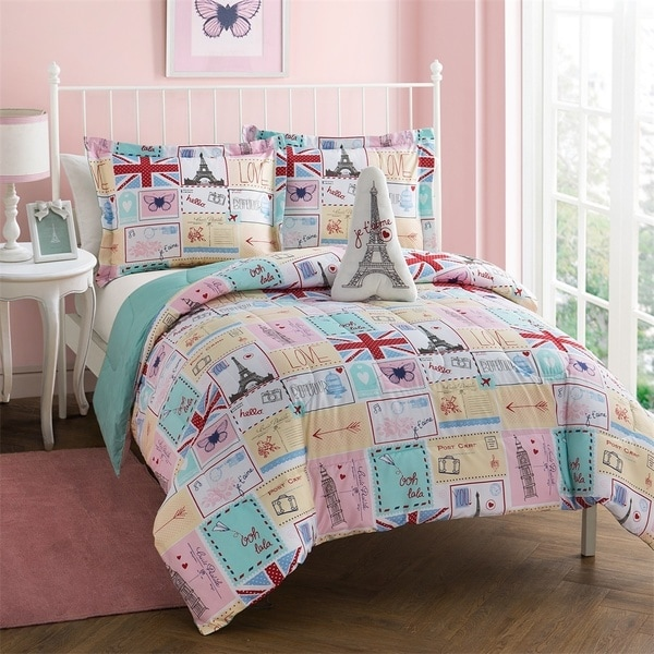 shop bonjour pink and blue patchwork 4 piece comforter set free shipping on orders over 45. Black Bedroom Furniture Sets. Home Design Ideas