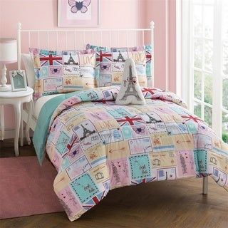 Bonjour Pink and Blue Patchwork 4-piece Comforter Set