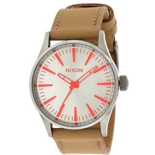 Nixon Ladies' Beige Leather Boyfriend-style Watch|https://ak1.ostkcdn.com/images/products/14600422/P21144730.jpg?impolicy=medium